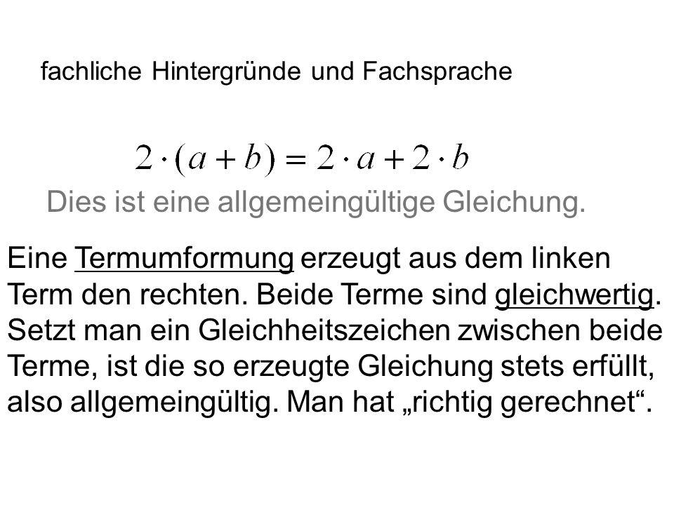 IQSH fachliche Hintergründe und Fachsprache Dies ist eine allgemeingültige Gleichung. Eine Termumformung erzeugt aus dem linken Term den rechten. Beid