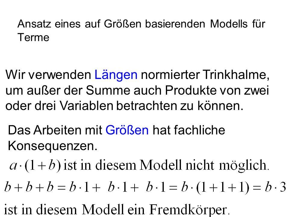 IQSH Ansatz eines auf Größen basierenden Modells für Terme Wir verwenden Längen normierter Trinkhalme, um außer der Summe auch Produkte von zwei oder drei Variablen betrachten zu können.