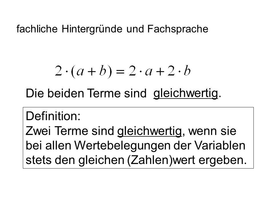 IQSH fachliche Hintergründe und Fachsprache Wir führen Terme ein, noch keine Gleichungen.