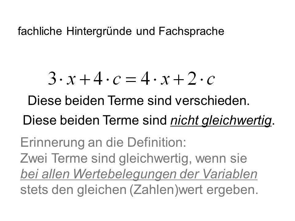 IQSH fachliche Hintergründe und Fachsprache Exkurs: Diese beiden Gleichungen sind äquivalent.