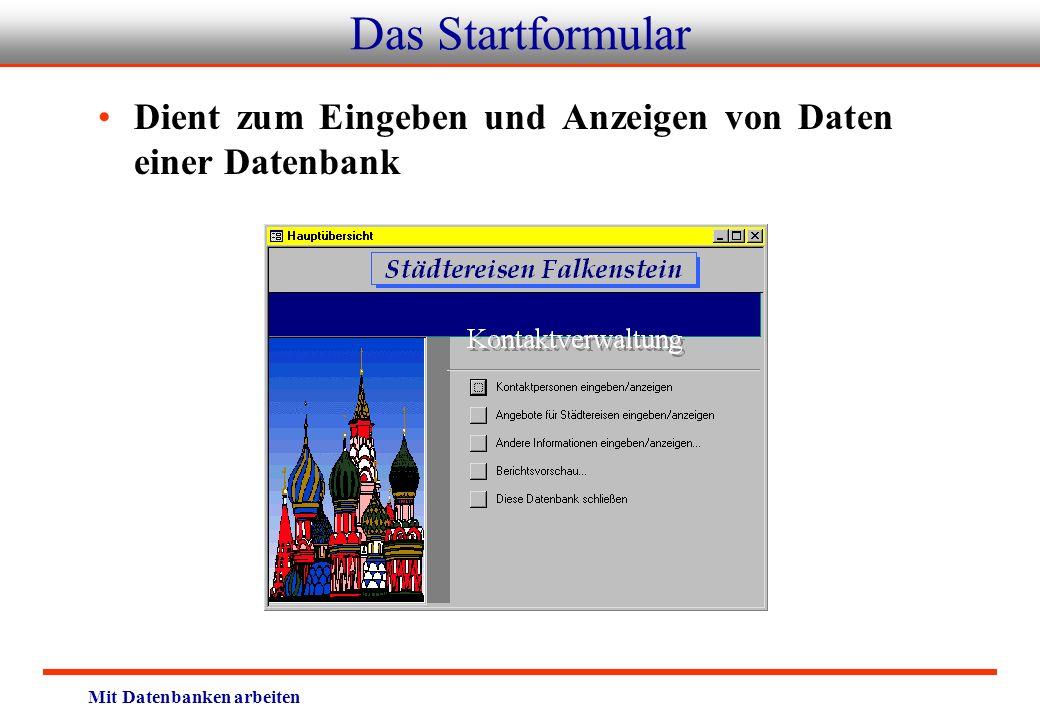 Mit Datenbanken arbeiten Das Startformular Dient zum Eingeben und Anzeigen von Daten einer Datenbank