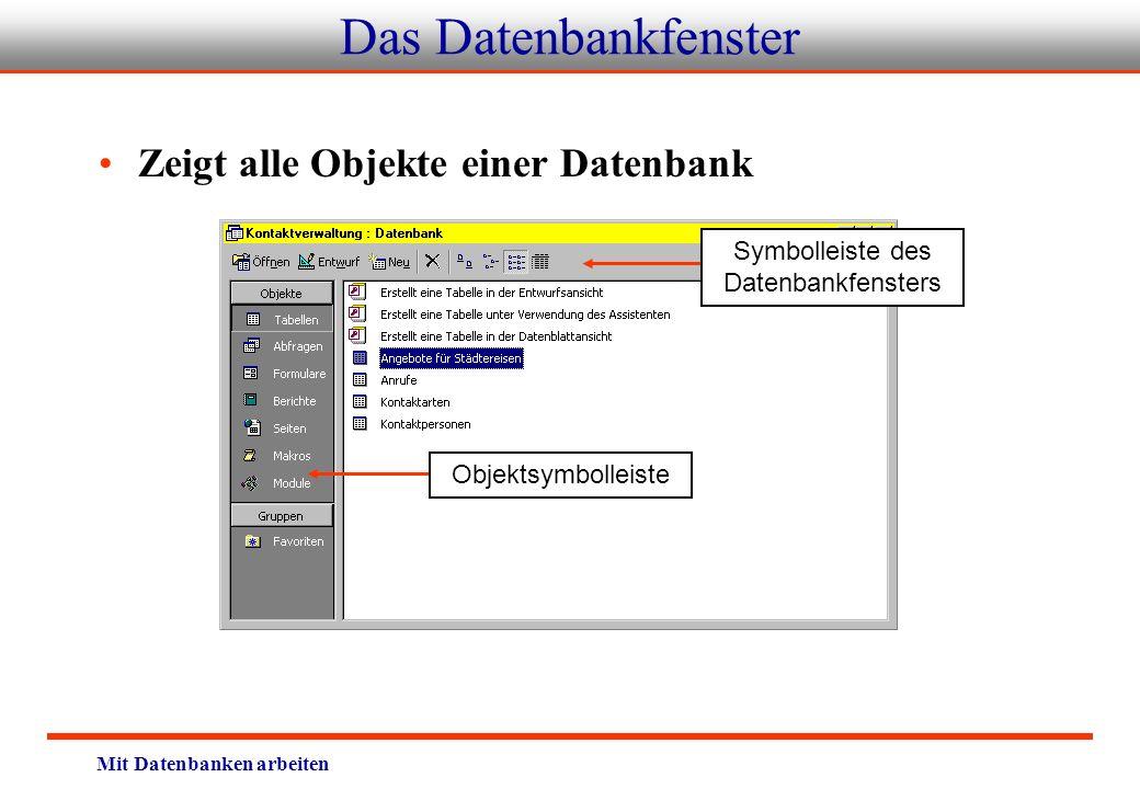 Mit Datenbanken arbeiten Das Datenbankfenster Zeigt alle Objekte einer Datenbank Objektsymbolleiste Symbolleiste des Datenbankfensters