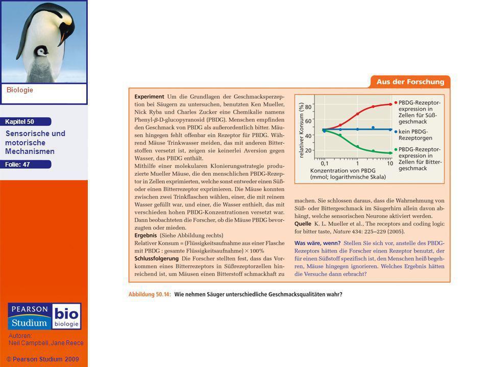 Kapitel 50 Biologie Autoren: Neil Campbell, Jane Reece Sensorische und motorische Mechanismen © Pearson Studium 2009 Folie: 47