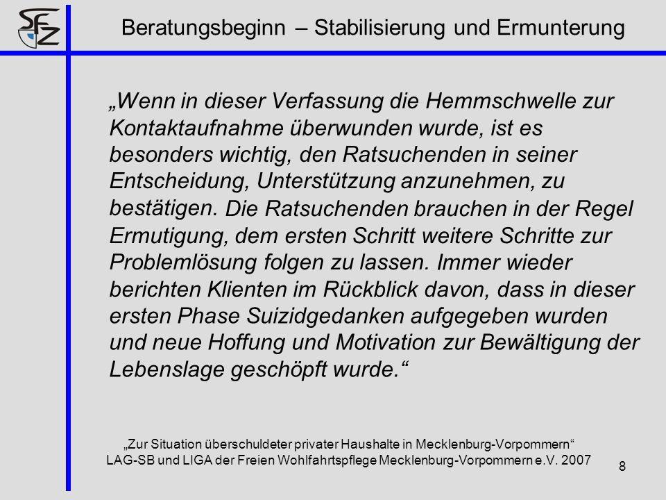 8 Zur Situation überschuldeter privater Haushalte in Mecklenburg-Vorpommern LAG-SB und LIGA der Freien Wohlfahrtspflege Mecklenburg-Vorpommern e.V. 20