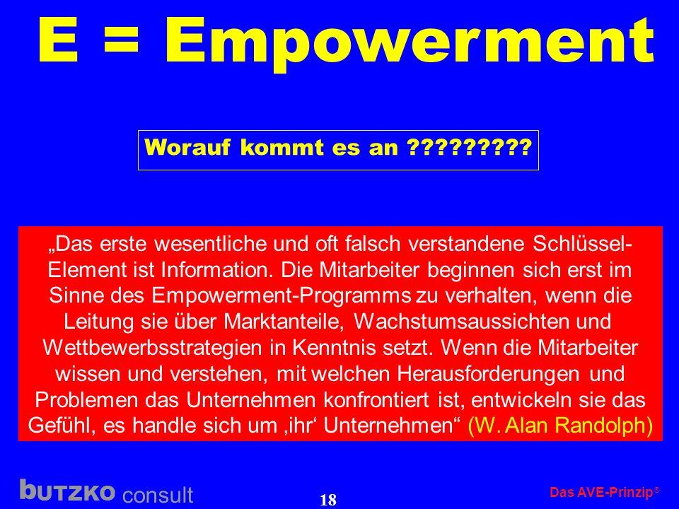 UTZKO consult b Das AVE-Prinzip 17 E = Empowerment Am Anfang glauben zu viele Manager und Führungskräfte, es genüge, dass sie ihren Mitar- beitern ihr