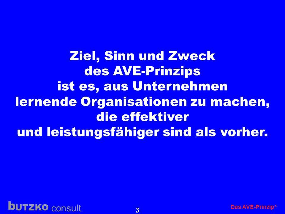 UTZKO consult b Das AVE-Prinzip 2 Das AVE-Prinzip Das AVE-Pinzip ist ein eingetragenes Warenzeichen der butzko consult