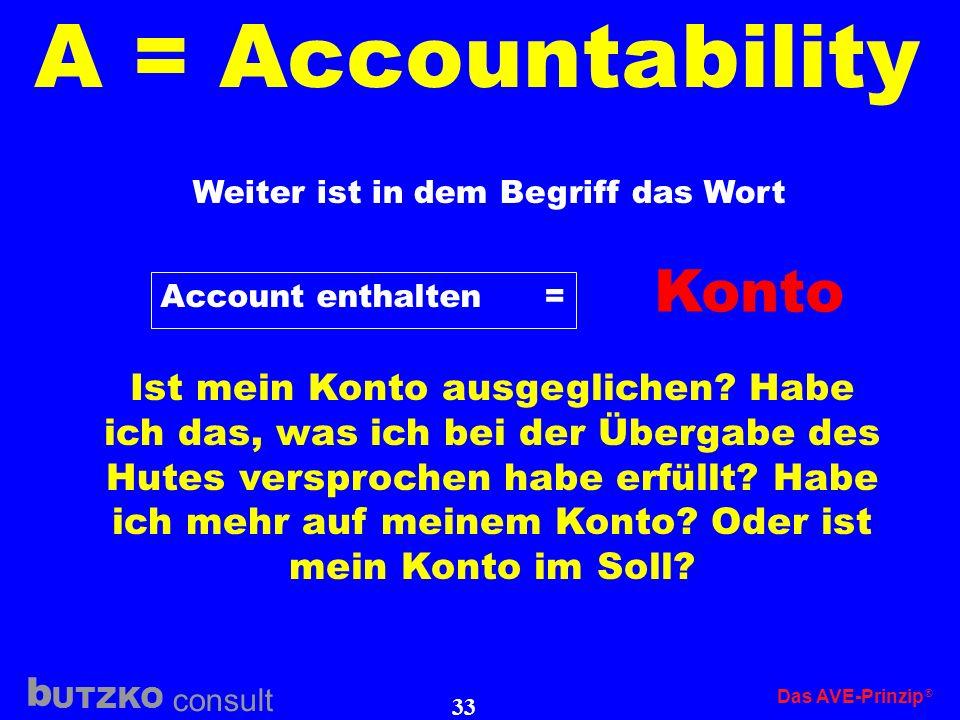 UTZKO consult b Das AVE-Prinzip 32 A = Accountability Accountability ist der wichtigste Punkt, ohne den das AVE-Prinzip nicht funktionieren könnte und