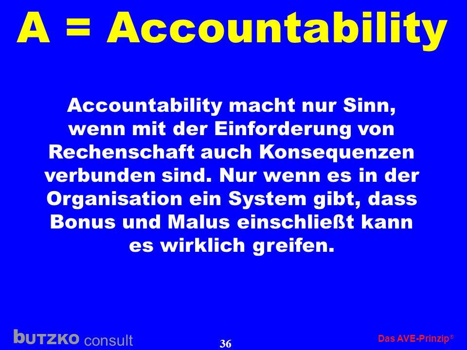 UTZKO consult b Das AVE-Prinzip 35 A = Accountability Accountability vollzieht sich in zwei Richtungen: nach oben nach unten Die Führungskraft muss si