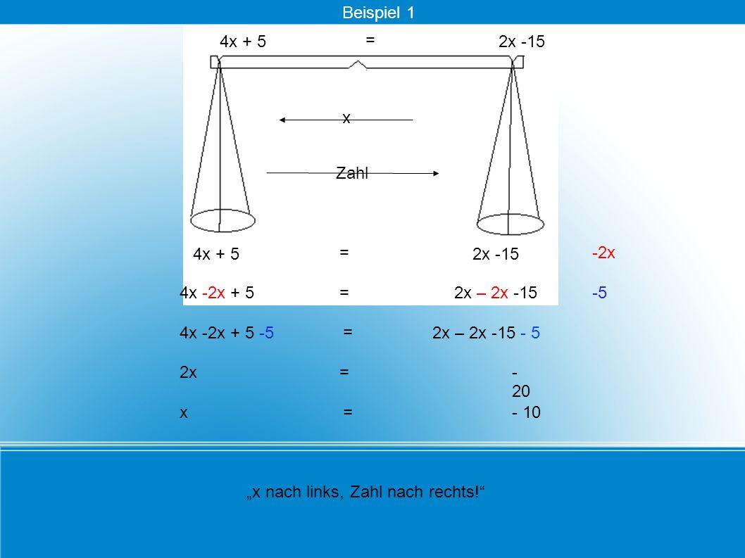 = 4x + 5 - 20 x nach links, Zahl nach rechts! -2x 4x -2x + 52x – 2x -15-5 4x -2x + 5 -5 = 2x – 2x -15 - 5 x Zahl 2x= = 2x -15 x = - 10 = 4x + 52x -15