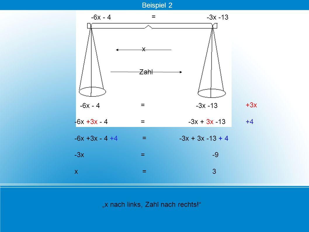 = -6x - 4 -9 x nach links, Zahl nach rechts! +3x -6x +3x - 4-3x + 3x -13+4 -6x +3x - 4 +4 = -3x + 3x -13 + 4 x Zahl -3x= = -3x -13 x = 3 = -6x - 4-3x