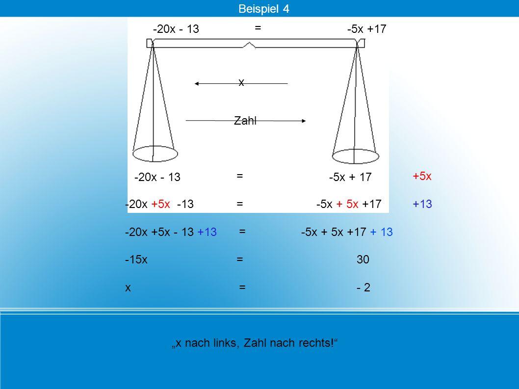 = -20x - 13 30 x nach links, Zahl nach rechts! +5x -20x +5x -13-5x + 5x +17+13 -20x +5x - 13 +13 = -5x + 5x +17 + 13 x Zahl -15x= = -5x + 17 x = - 2 =