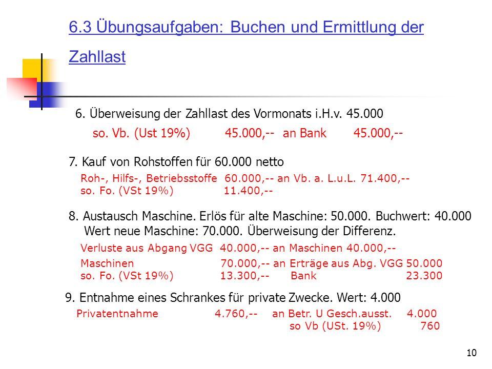 10 7. Kauf von Rohstoffen für 60.000 netto Roh-, Hilfs-, Betriebsstoffe 60.000,-- an Vb. a. L.u.L. 71.400,-- so. Fo. (VSt 19%) 11.400,-- 8. Austausch