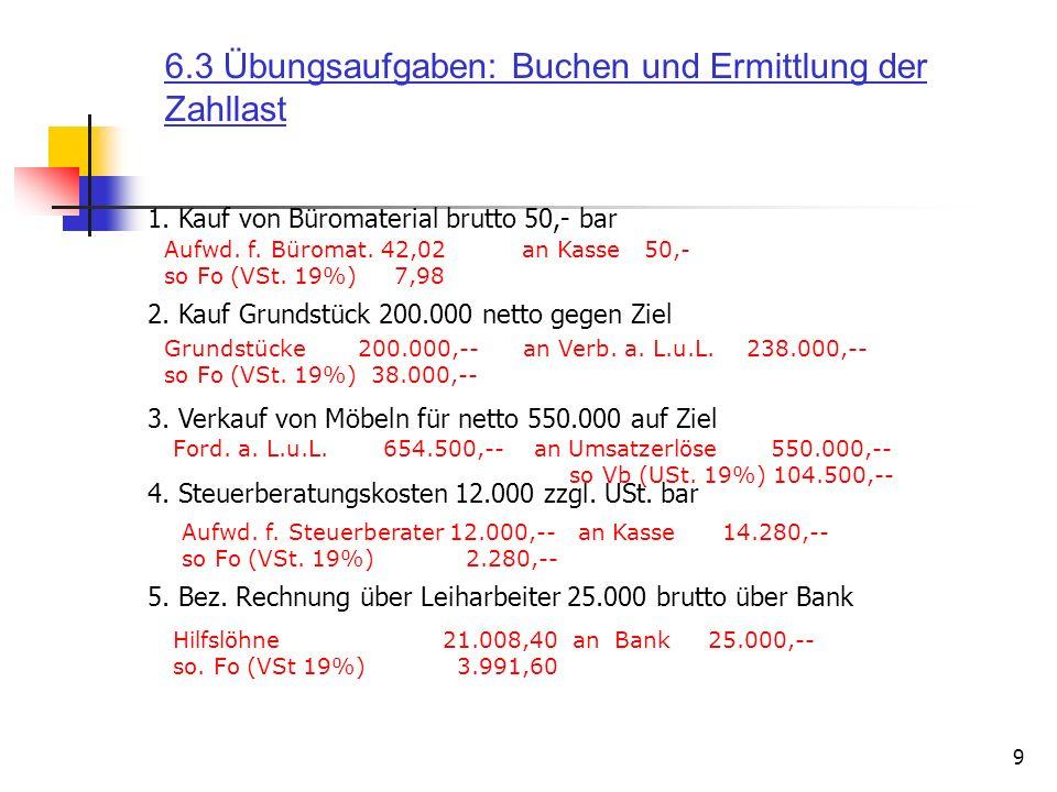 9 1. Kauf von Büromaterial brutto 50,- bar Aufwd. f. Büromat. 42,02 an Kasse 50,- so Fo (VSt. 19%) 7,98 4. Steuerberatungskosten 12.000 zzgl. USt. bar