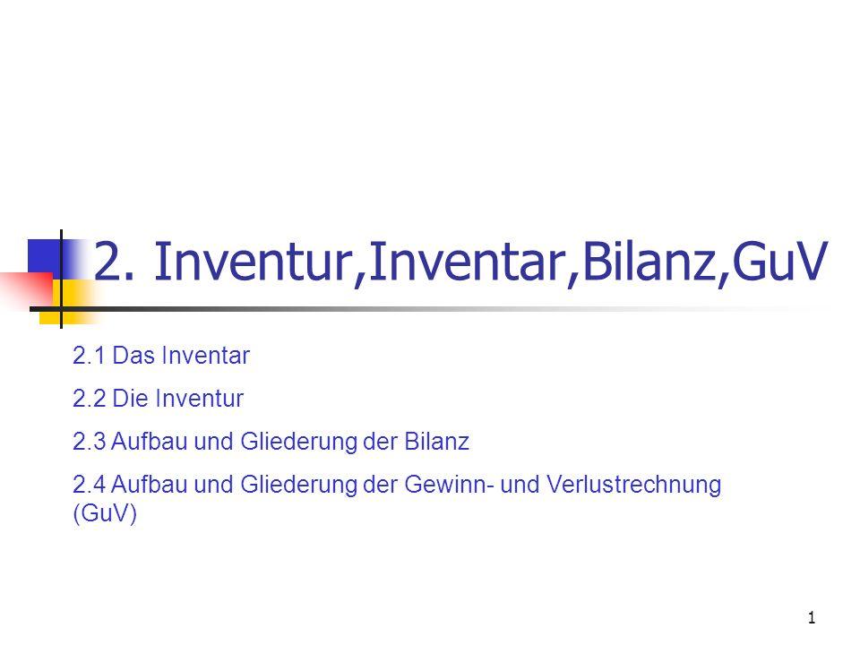 1 2. Inventur,Inventar,Bilanz,GuV 2.1 Das Inventar 2.2 Die Inventur 2.3 Aufbau und Gliederung der Bilanz 2.4 Aufbau und Gliederung der Gewinn- und Ver
