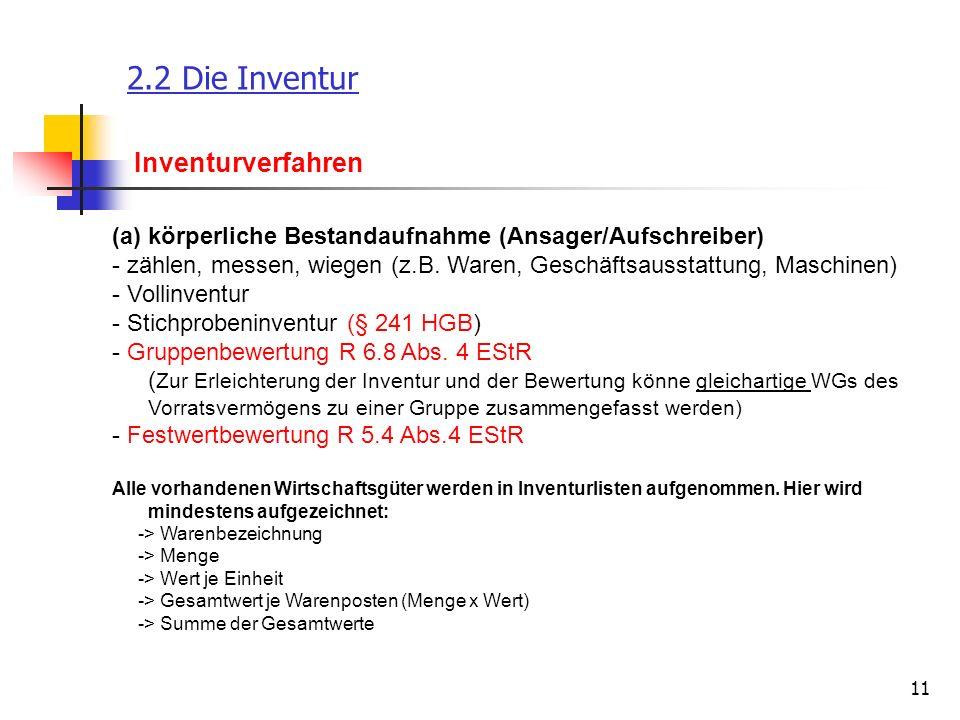 11 2.2 Die Inventur Inventurverfahren (a)körperliche Bestandaufnahme (Ansager/Aufschreiber) - zählen, messen, wiegen (z.B. Waren, Geschäftsausstattung