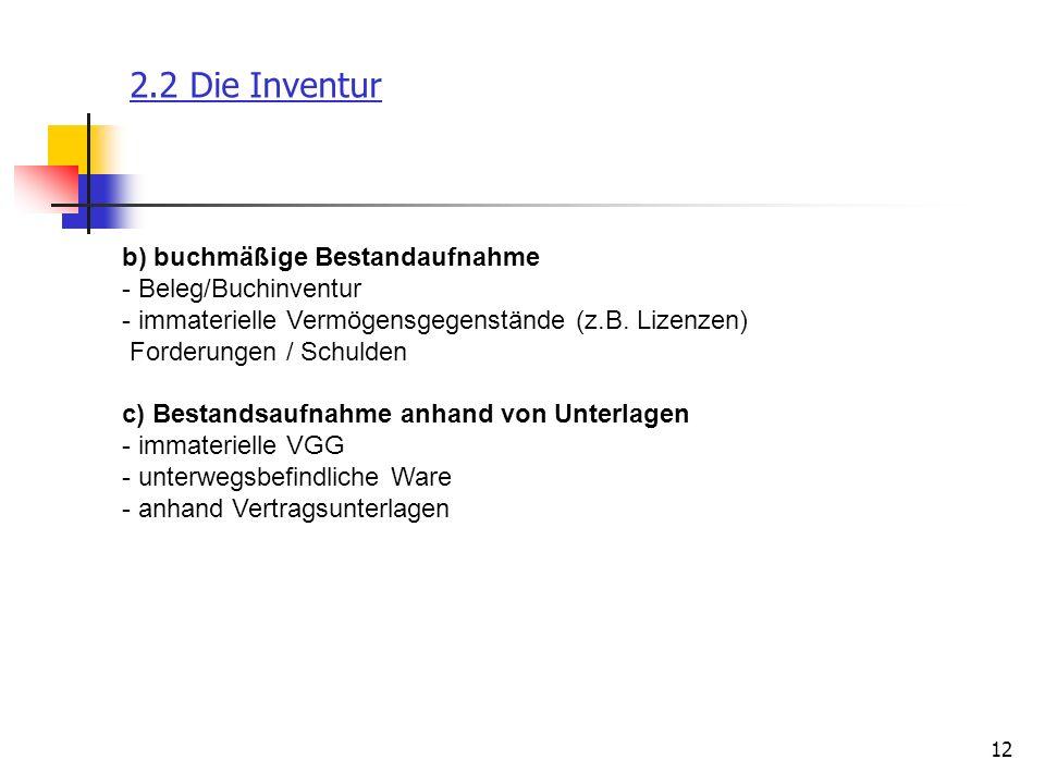 12 2.2 Die Inventur b) buchmäßige Bestandaufnahme - Beleg/Buchinventur - immaterielle Vermögensgegenstände (z.B. Lizenzen) Forderungen / Schulden c) B