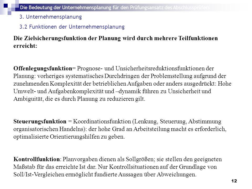 Die Bedeutung der Unternehmensplanung für den Prüfungsansatz des Abschlussprüfers 12 3.