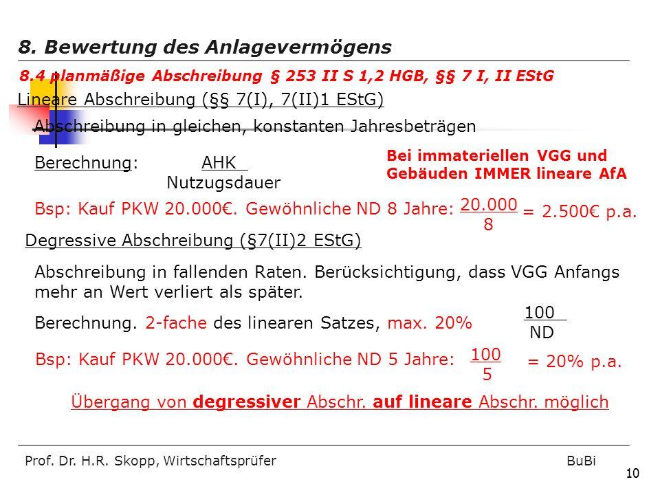 Prof. Dr. H.R. Skopp, Wirtschaftsprüfer BuBi 10 Lineare Abschreibung (§§ 7(I), 7(II)1 EStG) Abschreibung in gleichen, konstanten Jahresbeträgen Berech
