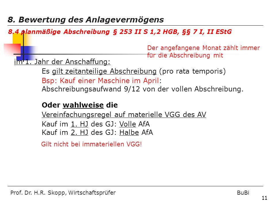 Prof. Dr. H.R. Skopp, Wirtschaftsprüfer BuBi 11 im 1. Jahr der Anschaffung: Es gilt zeitanteilige Abschreibung (pro rata temporis) Bsp: Kauf einer Mas