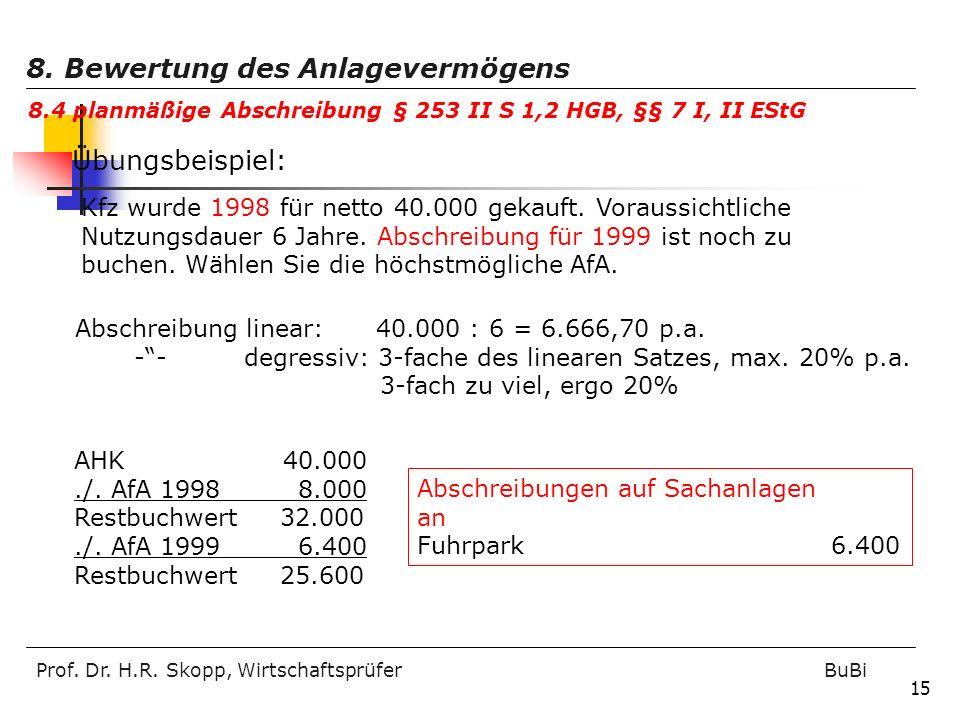 Prof. Dr. H.R. Skopp, Wirtschaftsprüfer BuBi 15 Übungsbeispiel: Kfz wurde 1998 für netto 40.000 gekauft. Voraussichtliche Nutzungsdauer 6 Jahre. Absch