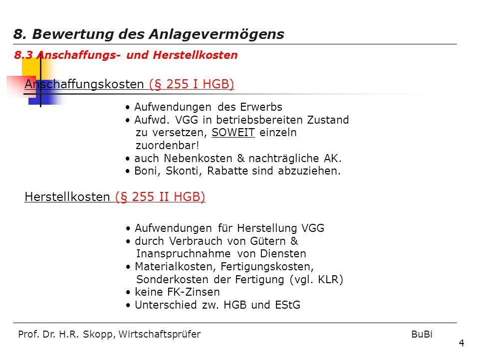 Prof. Dr. H.R. Skopp, Wirtschaftsprüfer BuBi 4 Anschaffungskosten (§ 255 I HGB) Aufwendungen des Erwerbs Aufwd. VGG in betriebsbereiten Zustand zu ver