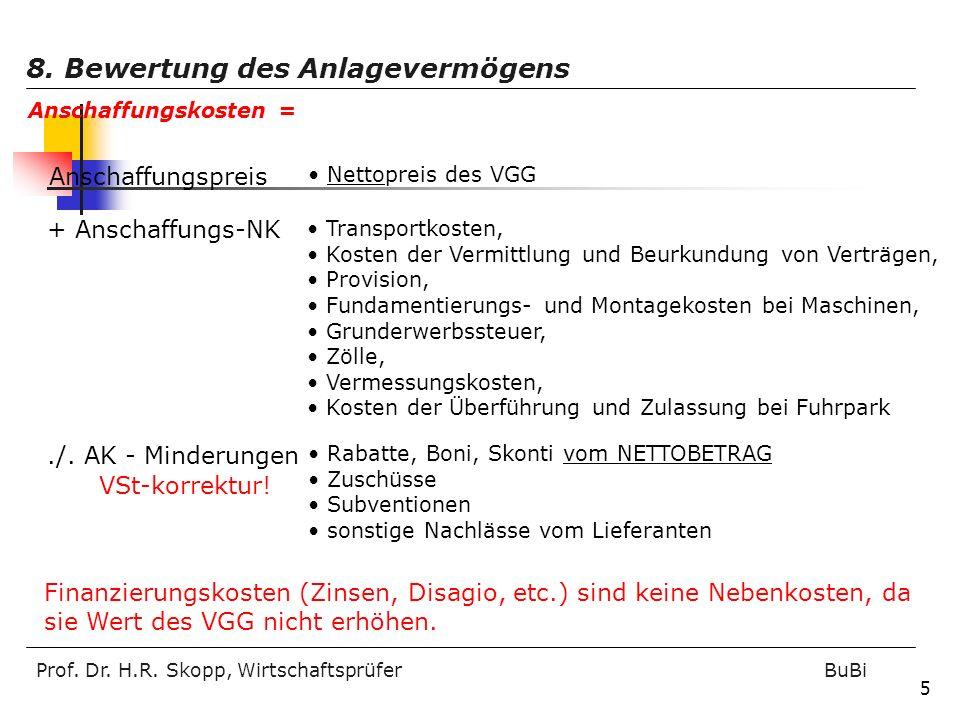 Prof. Dr. H.R. Skopp, Wirtschaftsprüfer BuBi 5 Anschaffungspreis Nettopreis des VGG + Anschaffungs-NK Transportkosten, Kosten der Vermittlung und Beur