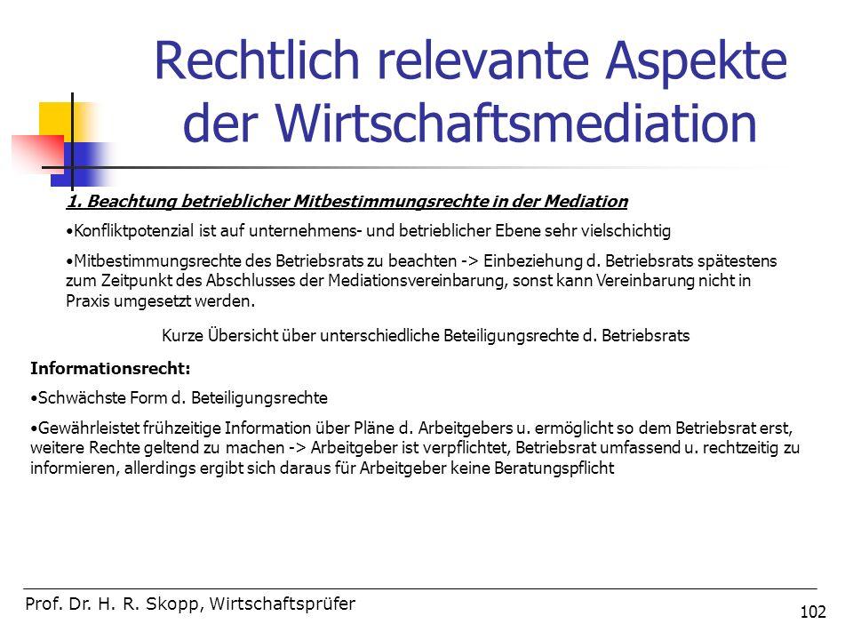 102 Rechtlich relevante Aspekte der Wirtschaftsmediation Prof. Dr. H. R. Skopp, Wirtschaftsprüfer 1. Beachtung betrieblicher Mitbestimmungsrechte in d