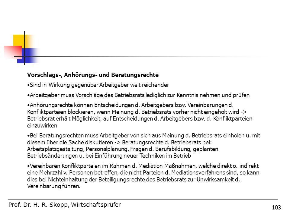 103 Prof. Dr. H. R. Skopp, Wirtschaftsprüfer Vorschlags-, Anhörungs- und Beratungsrechte Sind in Wirkung gegenüber Arbeitgeber weit reichender Arbeitg