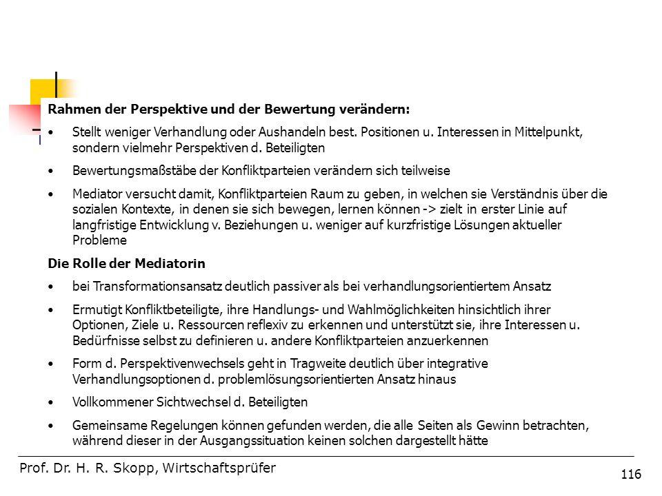 116 Prof. Dr. H. R. Skopp, Wirtschaftsprüfer Rahmen der Perspektive und der Bewertung verändern: Stellt weniger Verhandlung oder Aushandeln best. Posi