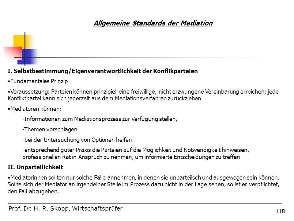 118 Prof. Dr. H. R. Skopp, Wirtschaftsprüfer Allgemeine Standards der Mediation I. Selbstbestimmung/Eigenverantwortlichkeit der Konflikparteien Fundam