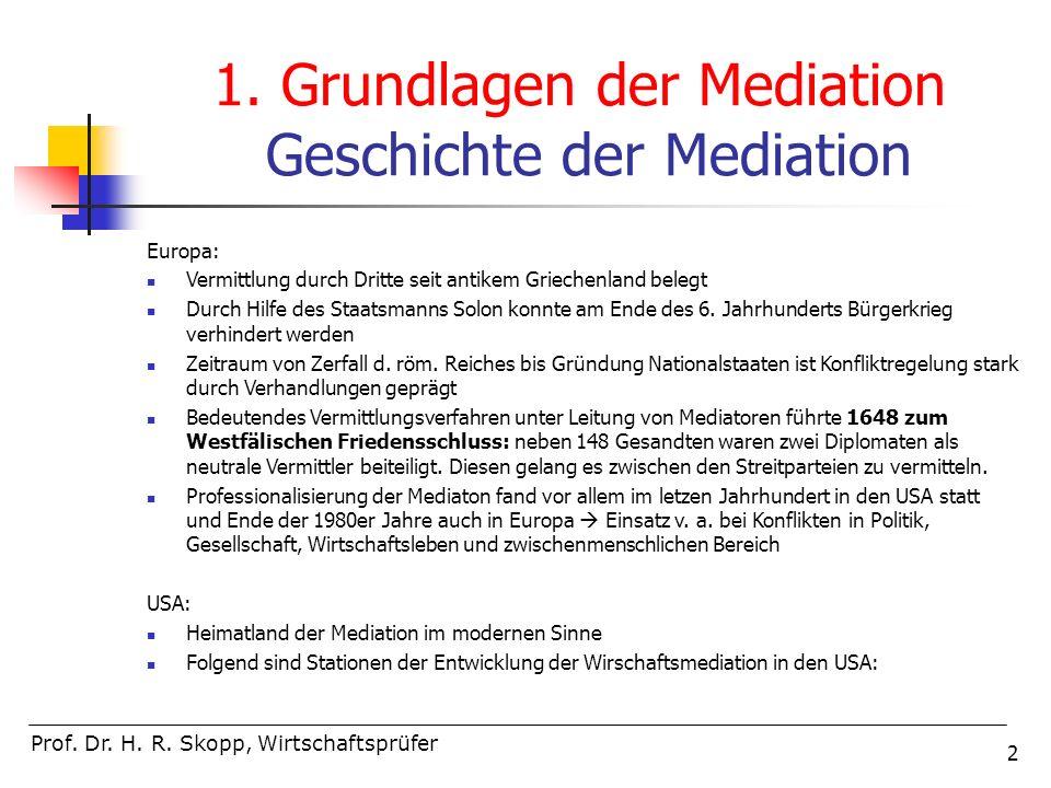 2 Prof. Dr. H. R. Skopp, Wirtschaftsprüfer 1. Grundlagen der Mediation Geschichte der Mediation Europa: Vermittlung durch Dritte seit antikem Griechen