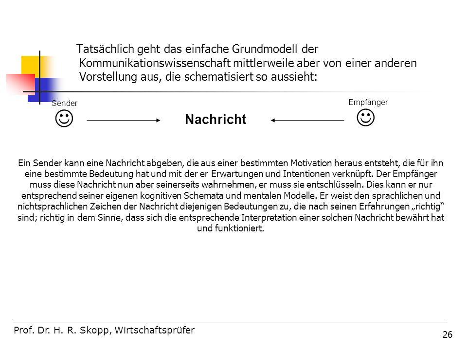 26 Tatsächlich geht das einfache Grundmodell der Kommunikationswissenschaft mittlerweile aber von einer anderen Vorstellung aus, die schematisiert so