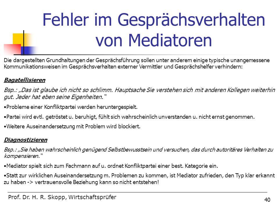 40 Fehler im Gesprächsverhalten von Mediatoren Prof. Dr. H. R. Skopp, Wirtschaftsprüfer Die dargestellten Grundhaltungen der Gesprächsführung sollen u