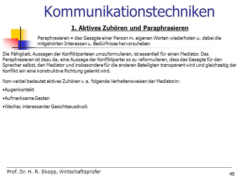 49 Kommunikationstechniken Prof. Dr. H. R. Skopp, Wirtschaftsprüfer 1. Aktives Zuhören und Paraphrasieren Paraphrasieren = das Gesagte einer Person m.