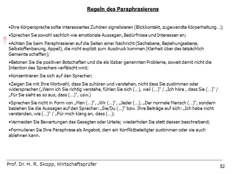 52 Regeln des Paraphrasierens Prof. Dr. H. R. Skopp, Wirtschaftsprüfer Ihre Körpersprache sollte interessiertes Zuhören signalisieren (Blickkontakt, z