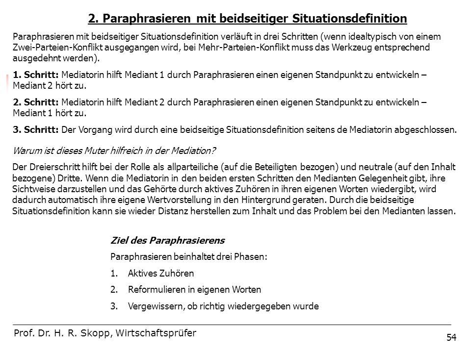 54 2. Paraphrasieren mit beidseitiger Situationsdefinition Prof. Dr. H. R. Skopp, Wirtschaftsprüfer Paraphrasieren mit beidseitiger Situationsdefiniti