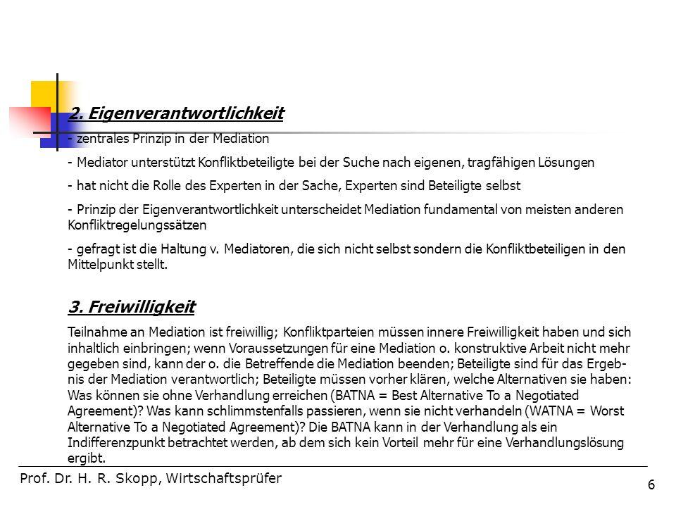 67 Prof.Dr. H. R. Skopp, Wirtschaftsprüfer 6.Vereinbarung und Umsetzung.