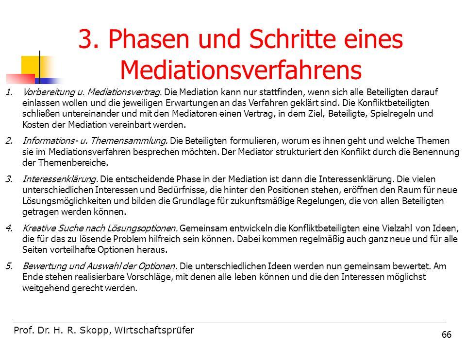 66 Prof. Dr. H. R. Skopp, Wirtschaftsprüfer 3. Phasen und Schritte eines Mediationsverfahrens 1.Vorbereitung u. Mediationsvertrag. Die Mediation kann