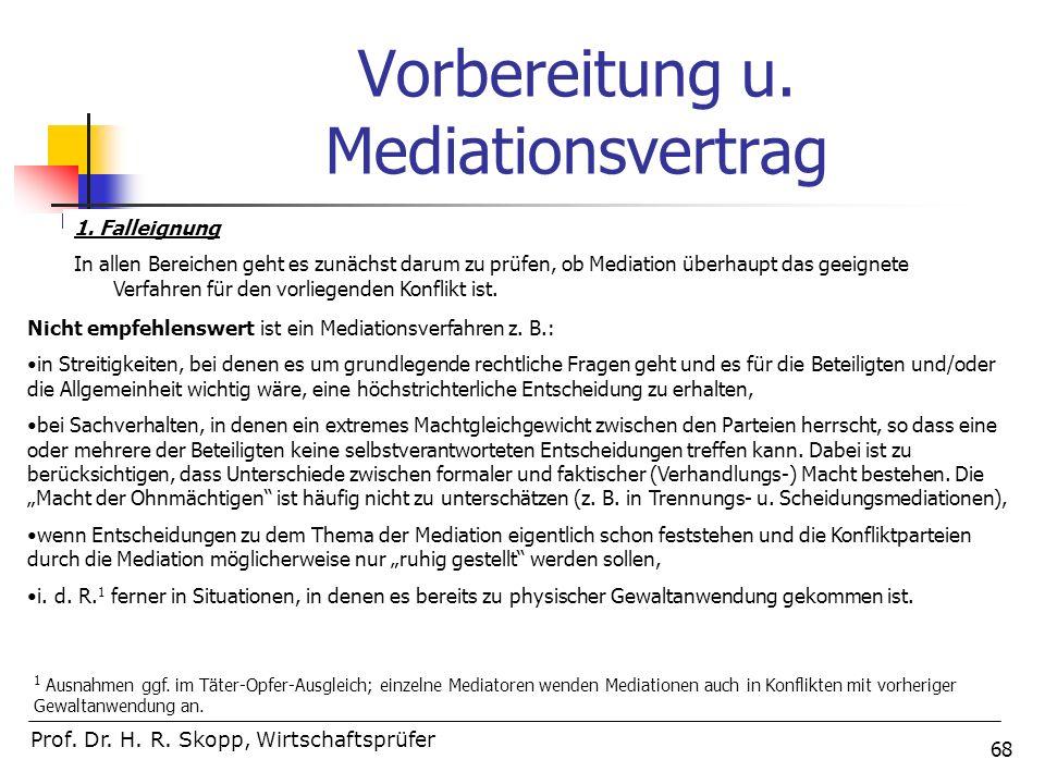 68 Vorbereitung u. Mediationsvertrag Prof. Dr. H. R. Skopp, Wirtschaftsprüfer 1. Falleignung In allen Bereichen geht es zunächst darum zu prüfen, ob M