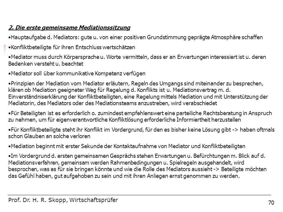 70 Prof. Dr. H. R. Skopp, Wirtschaftsprüfer 2. Die erste gemeinsame Mediationssitzung Hauptaufgabe d. Mediators: gute u. von einer positiven Grundstim