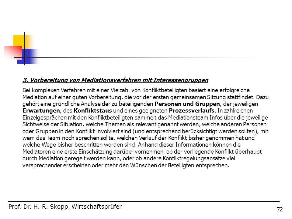 72 Prof. Dr. H. R. Skopp, Wirtschaftsprüfer 3. Vorbereitung von Mediationsverfahren mit Interessengruppen Bei komplexen Verfahren mit einer Vielzahl v