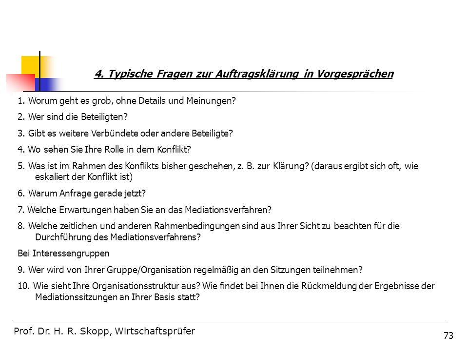 73 Prof. Dr. H. R. Skopp, Wirtschaftsprüfer 4. Typische Fragen zur Auftragsklärung in Vorgesprächen 1. Worum geht es grob, ohne Details und Meinungen?