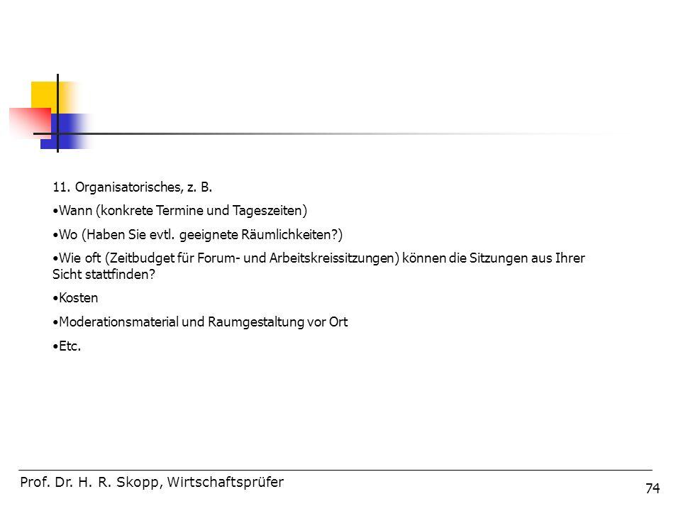 74 Prof. Dr. H. R. Skopp, Wirtschaftsprüfer 11. Organisatorisches, z. B. Wann (konkrete Termine und Tageszeiten) Wo (Haben Sie evtl. geeignete Räumlic