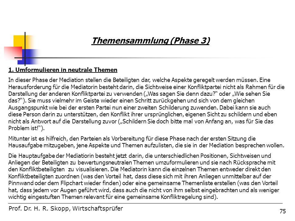 75 Prof. Dr. H. R. Skopp, Wirtschaftsprüfer Themensammlung (Phase 3) 1. Umformulieren in neutrale Themen In dieser Phase der Mediation stellen die Bet