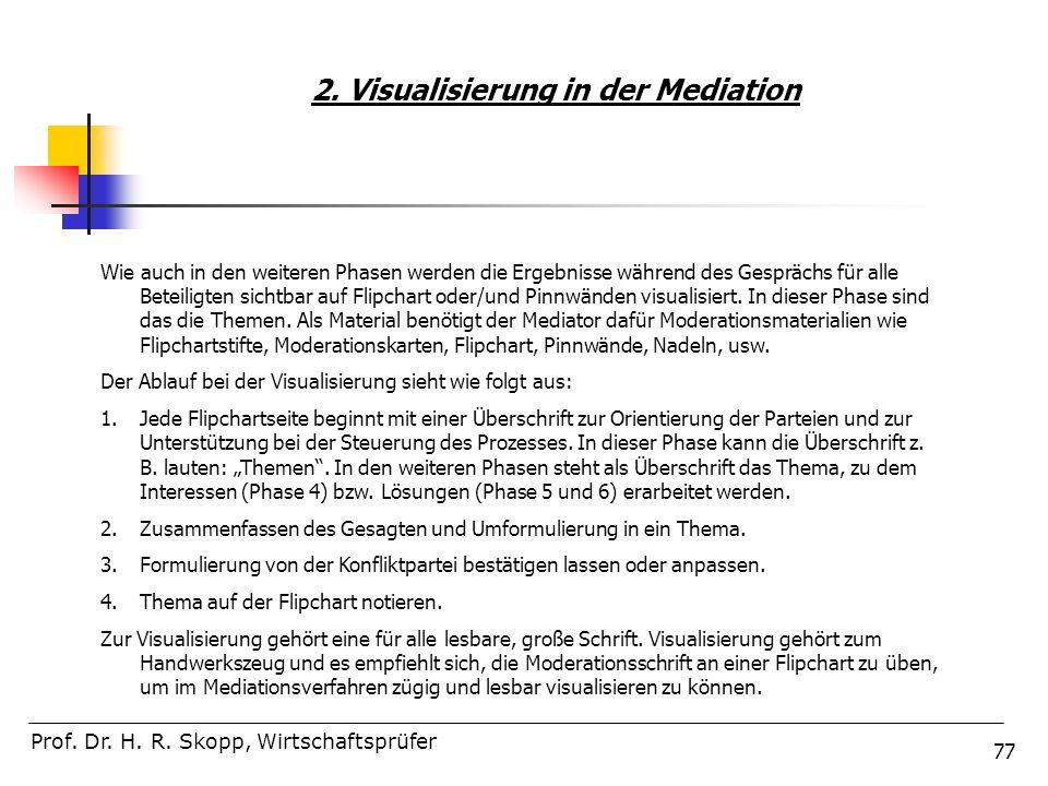 77 2. Visualisierung in der Mediation Prof. Dr. H. R. Skopp, Wirtschaftsprüfer Wie auch in den weiteren Phasen werden die Ergebnisse während des Gespr