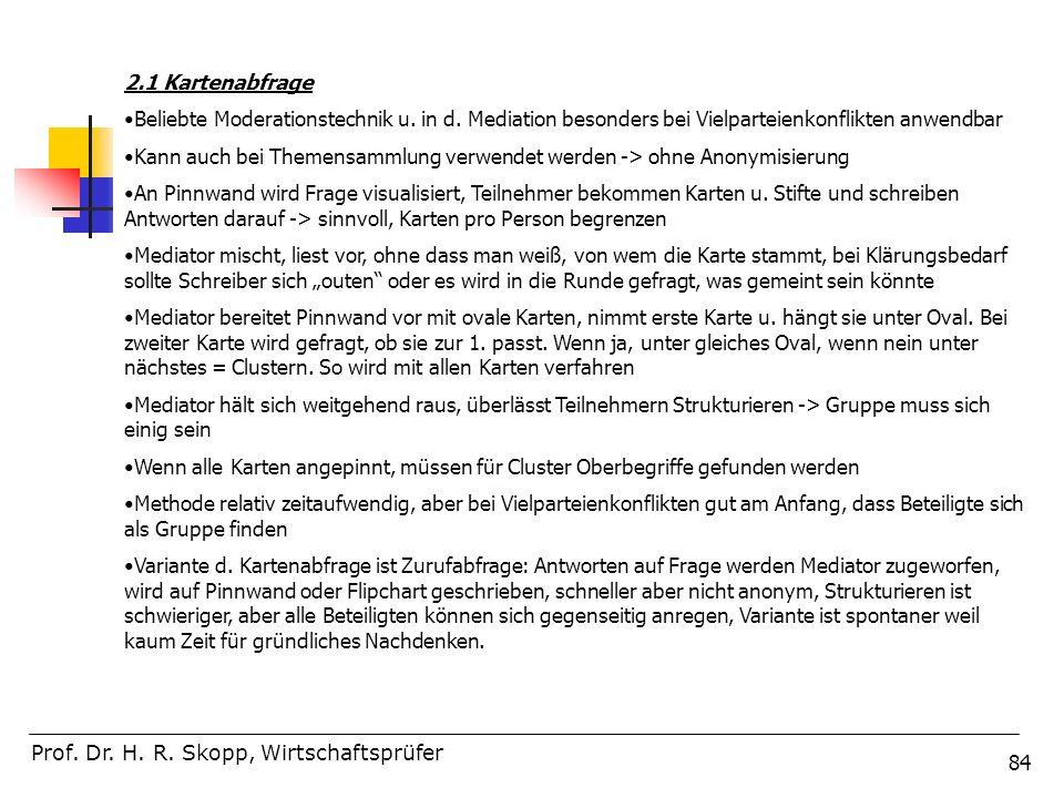 84 Prof. Dr. H. R. Skopp, Wirtschaftsprüfer 2.1 Kartenabfrage Beliebte Moderationstechnik u. in d. Mediation besonders bei Vielparteienkonflikten anwe