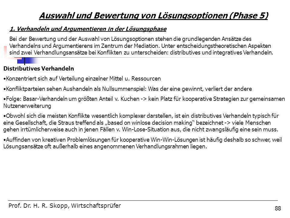 88 Auswahl und Bewertung von Lösungsoptionen (Phase 5) Prof. Dr. H. R. Skopp, Wirtschaftsprüfer 1. Verhandeln und Argumentieren in der Lösungsphase Be
