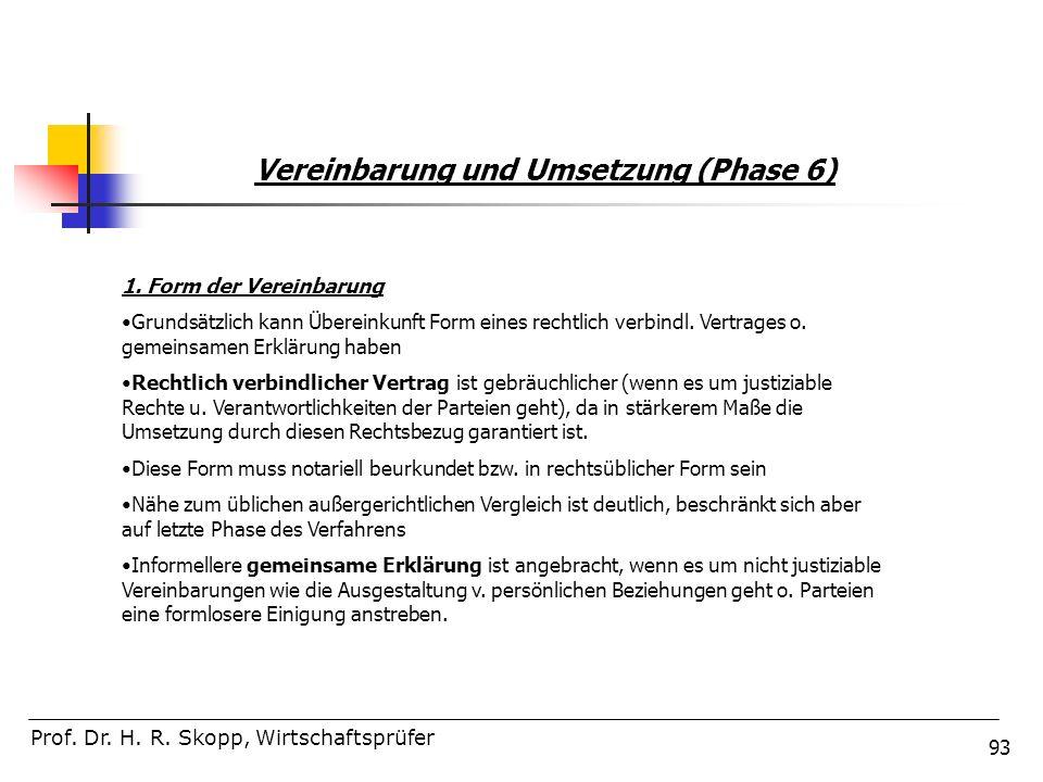 93 Vereinbarung und Umsetzung (Phase 6) Prof. Dr. H. R. Skopp, Wirtschaftsprüfer 1. Form der Vereinbarung Grundsätzlich kann Übereinkunft Form eines r
