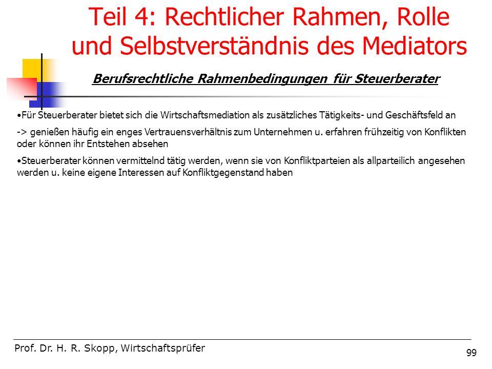 99 Teil 4: Rechtlicher Rahmen, Rolle und Selbstverständnis des Mediators Prof. Dr. H. R. Skopp, Wirtschaftsprüfer Berufsrechtliche Rahmenbedingungen f