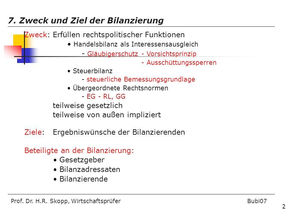 Prof. Dr. H.R. Skopp, Wirtschaftsprüfer Bubi07 2 7. Zweck und Ziel der Bilanzierung Zweck: Erfüllen rechtspolitischer Funktionen Handelsbilanz als Int
